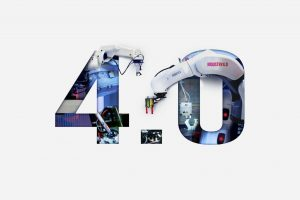Industry 4.0 double exposure concept. 3D printing, Automation, Robotic arm and Autonomous industrial technology.